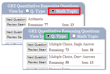 gre math questions by topic or type